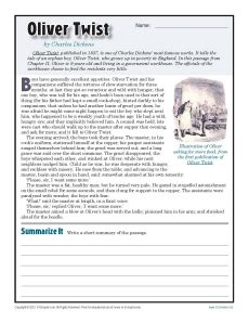 Free Printable 7th Grade Reading Comprehension Worksheets by Oliver Twist 7th Grade Reading Comprehension Worksheet