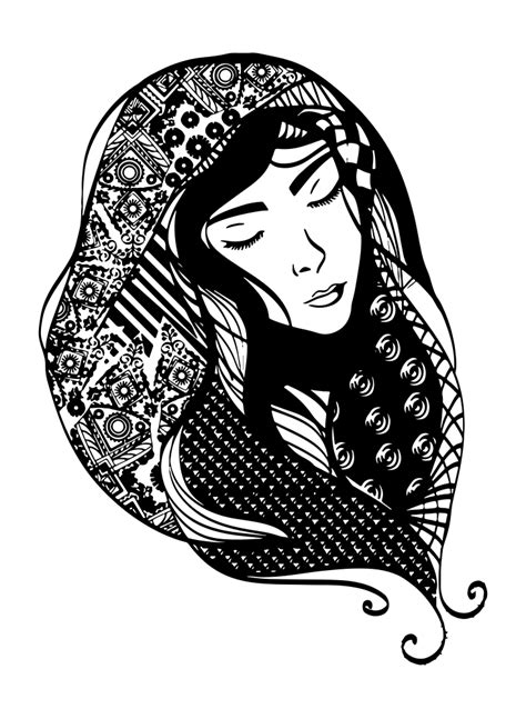 OnlineLabels Clip Art - Woman With Detailed Head Scarf