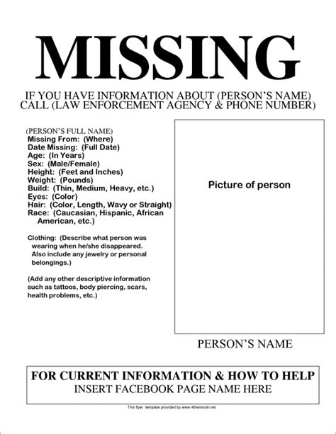 missing person ad template missing poster template madinbelgrade