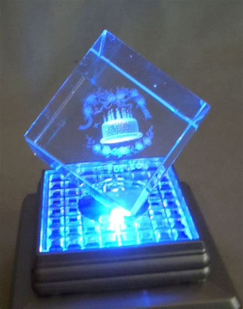 lighted display stand for glass art free etched glass cube quot for you quot 1 5 quot light up display