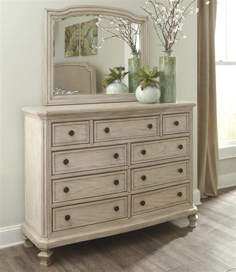 white 9 drawer dresser with mirror signature design by ashley demarlos vintage parchment