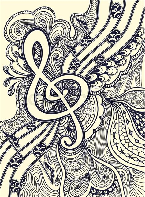 Art To Decorate Your Home zen doodle treble clef notes musical stanza with zen