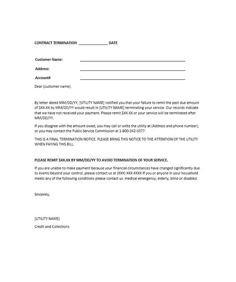 30 Day Credit Agreement Template 35 Termination Letter Sles Lease Employee Contract