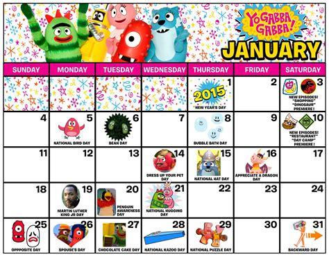 gabba gabba gabba yo gabba gabba january 2015 calendar yo gabba gabba