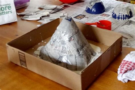 How To Make Paper Mache Volcano - paper mache baking soda vinegar volcano diy