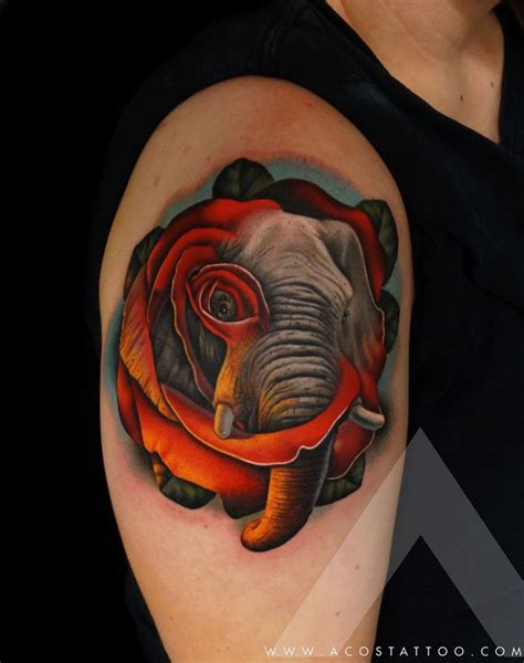 elephant and rose tattoo elephant best design ideas