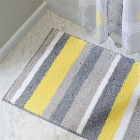 Interdesign Microfiber Stripz Bathroom Shower Accent Rug Yellow And Gray Bathroom Rug