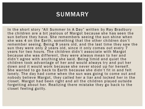 day plot summary all summer in a day anahi max hazel ppt