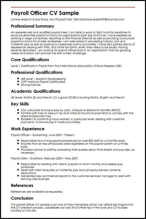 resume exles uk payroll officer cv sle myperfectcv