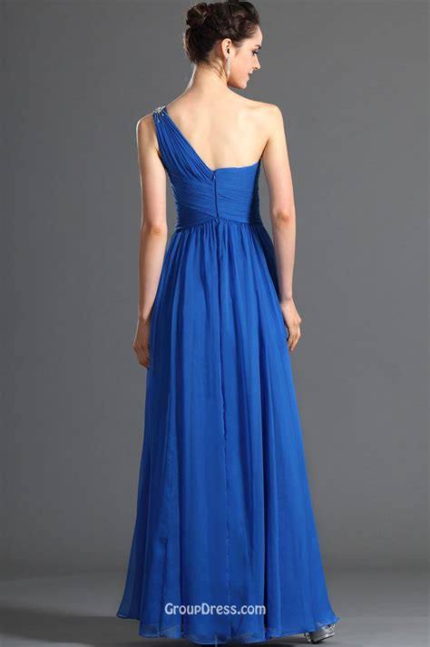 Royal Blue Chiffon One Shoulder Sweetheart Classic Long