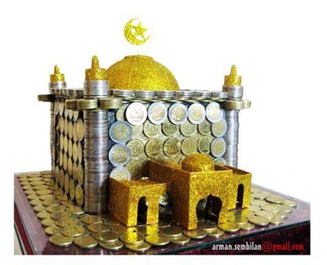 tutorial mas kawin uang koin miuk miuk menarik mas kawin miniatur masjid terbuat