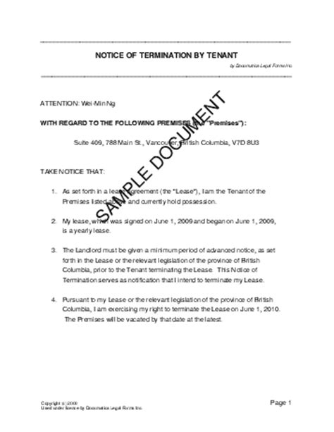 Termination Of Rental Agreement Letter Ontario Notice Of Termination By Tenant Canada Templates Agreements Contracts And Forms