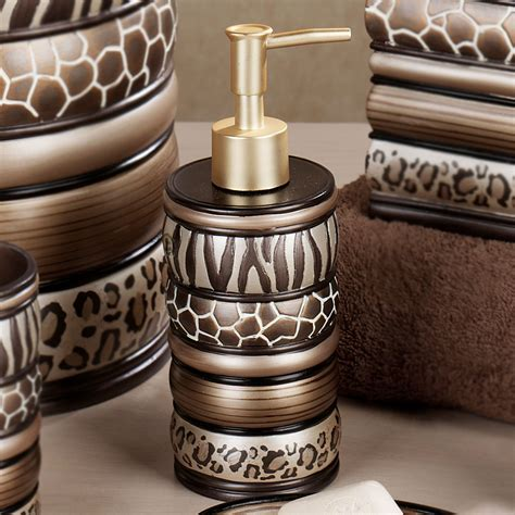 leopard print bathroom accessories safari stripes animal print bath accessories