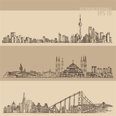 city background drawing drawing city retro background vector 03 free
