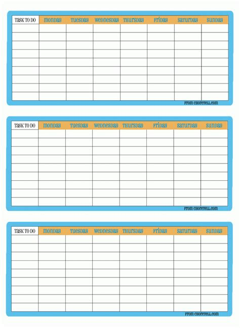 printable calendar chart to do chore chart http choretell com blank lists 3 up