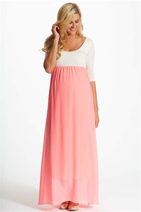 Idw081 Pink Size 15 5 pink chiffon colorblock maternity maxi from pinkblush