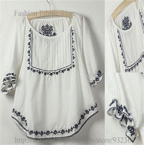 Blouse White Vintage Embriodery vintage mexican floral embroidery 100 cotton