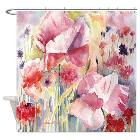 poppy colored curtains pink poppies shower curtain by jillfdesigns