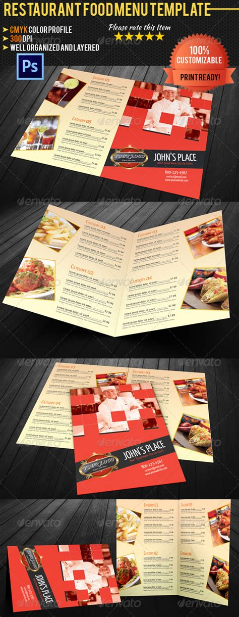 bi fold menu template bi fold restaurant food menu template 02 graphicriver