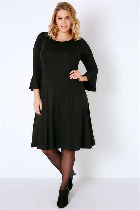 New Look Gift Card Ireland - black fit flare jersey dress with flute sleeves plus size 16 to 36