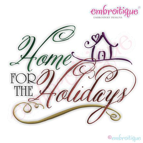 embroitique home for the holidays script embroidery design