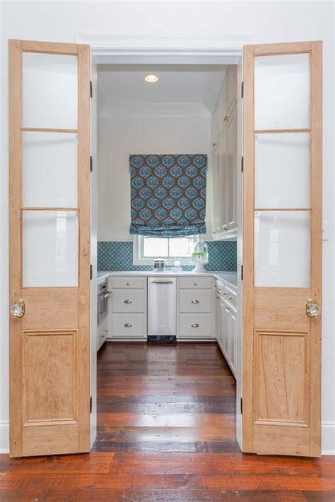glass  wood bi fold pantry doors cottage kitchen