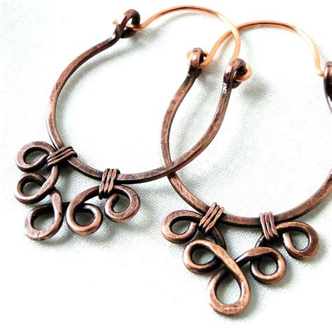 Handmade Copper Jewelry - handcrafted hoop earrings antiqued copper jewelry lacy