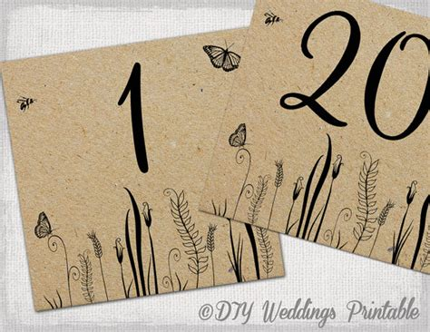 table number and menu card template rustic table numbers template butterfly meadow number