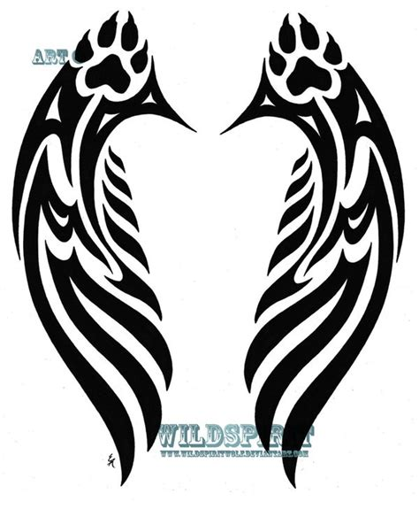 tribal paw print tattoo wolf wings winged wolves wolves
