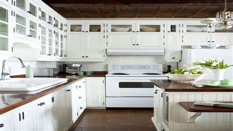 white kitchens with butcher block white ice appliances white distressed kitchen cabinets