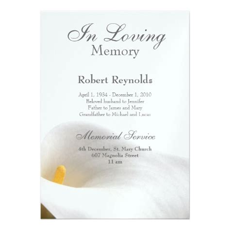 memorial announcement 5 quot x 7 quot invitation card zazzle