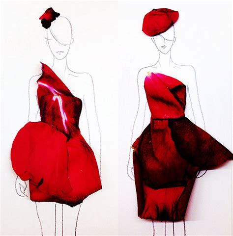 design real clothes designer turns real flower petals into fashion illustrations