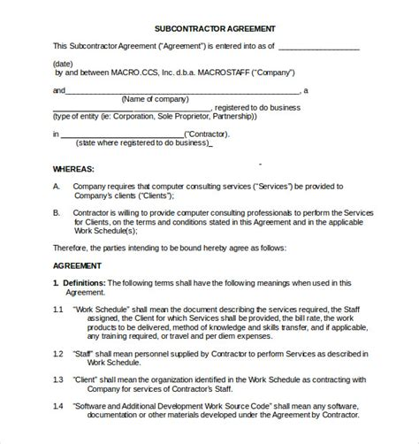 Non Compete Agreement Template 8 Free Word Excel Pdf Documents Download Free Premium Subcontractor Agreement Template Pdf