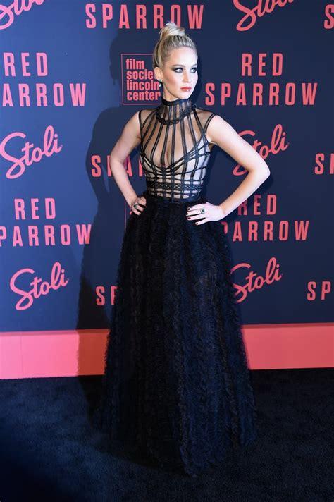 jennifer lawrence dior dress red sparrow  york premiere