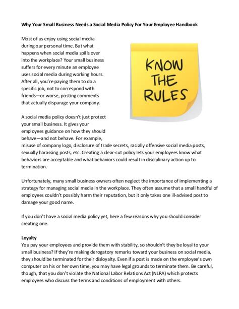 employee social media policy template why your small business needs a social media policy for