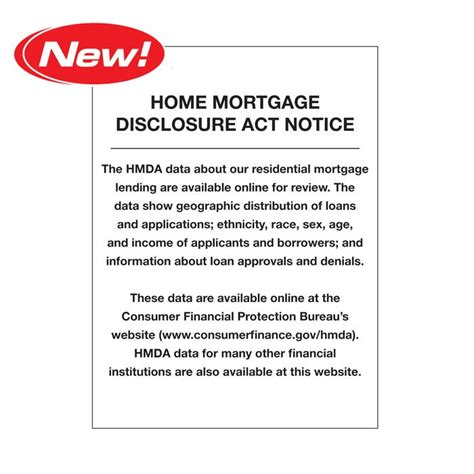 acrylic 2018 home mortgage disclosure notice act signs