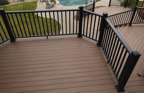 Sunshine Awning Deck Inspiration Stained Deck With Black Railing Home