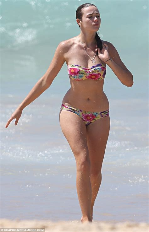 home and away s demi harman nearly busts out of her bikini top daily mail online
