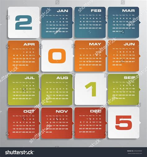 Editable Calendar 2015 Simple Editable Vector Calendar 2015 Stock Vector