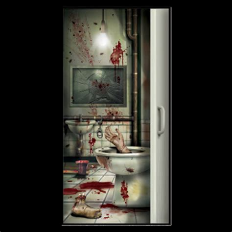 crime scene bathroom decor bloody creepy crapper bathroom door cover dexter halloween