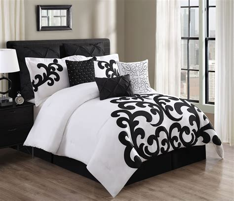 black comforter queen 9 piece empress 100 cotton black white comforter set