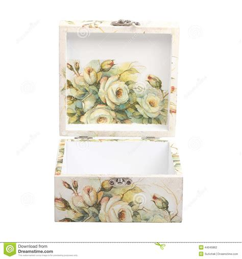 decoupage with paper floral pattern box decorated with decoupage paper stock