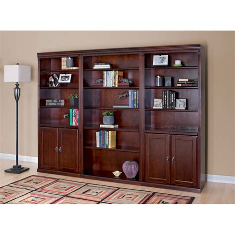 wall bookcase with doors kathy ireland huntington club wood wall bookcase with
