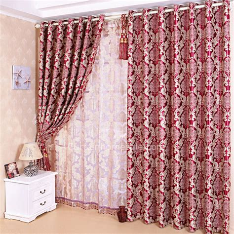 Wine Colored Curtains Classic Pattern Blackout Curtain Curtain In Bright Wine Color Polyester Living Room Curtain