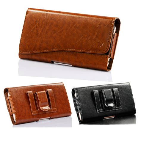 Leather Iphone Samsung horizontal leather holster belt clip carrying pouch
