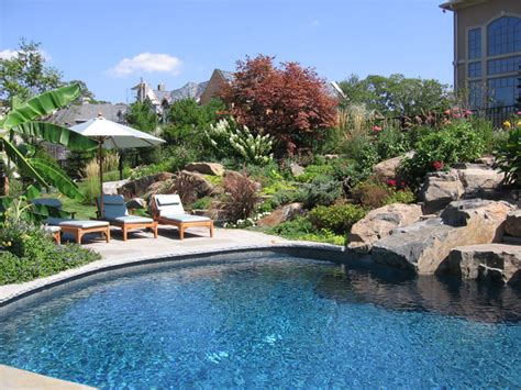Backyard Swimming Pools Waterfalls Natural Landscaping Nj Backyard With Pool Landscaping Ideas