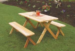 Patio Table With Bench Cedar Wood Outdoor Dining Furniture Table Set