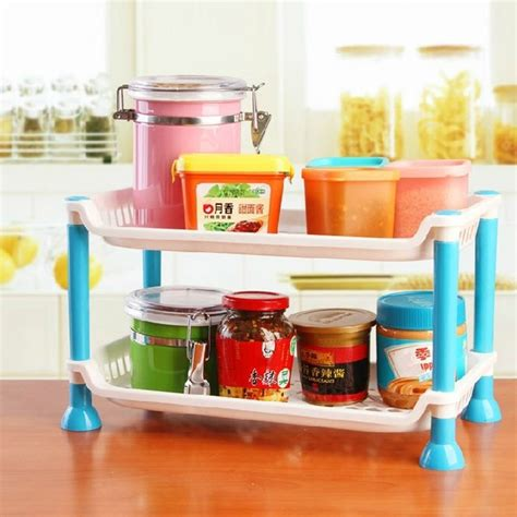 kitchen desk organizer plastic foldable storage shelf rack home kitchen bathroom