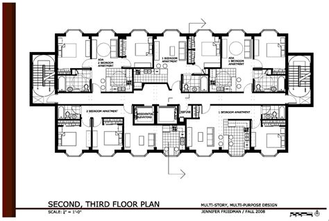 floor plan 3 storey commercial building multi story multi purpose design by jennifer friedman at