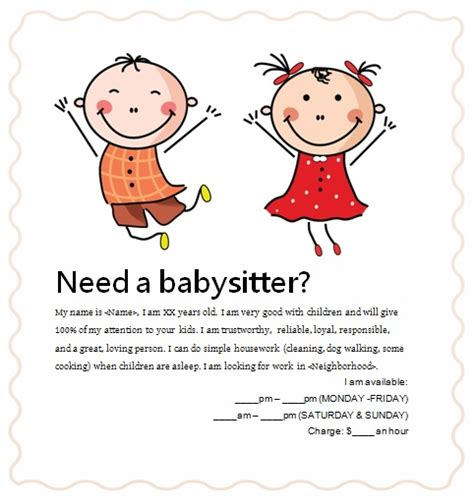 Free Babysitting Flyers Unique Ideas Beautiful Templates And Sles Demplates Babysitting Flyer Template Pdf